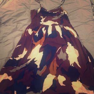 Loft tea length multi dress size 10